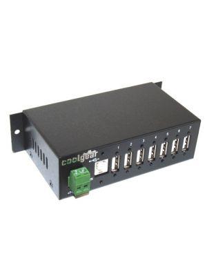 Surge Protected Metal 7-Port USB 2.0 Hub - DIN RAIL Mounting NEC Chip