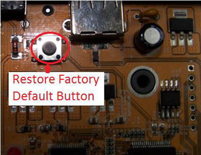 NetUSB-100iX4 Factory Reset Button to restore server defaults