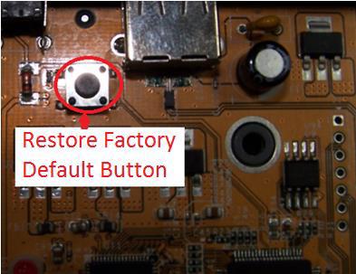 NetUSB-100iX4 Factory Reset Button to restore server defaults